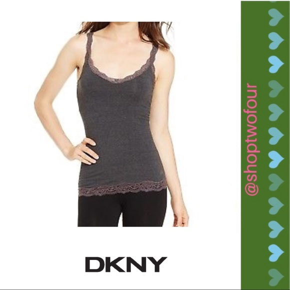 d312feac36335f Dkny Tops | Womens Downtown Cotton Lace Trim Tank Top | Poshmark